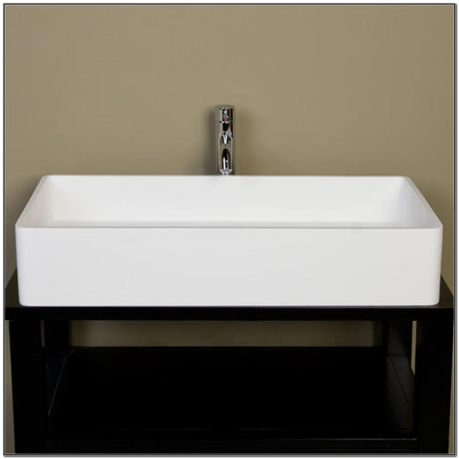 Small White Rectangular Vessel Sink