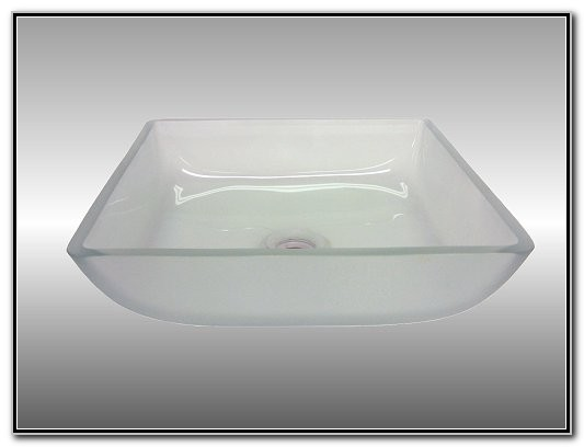 Square Frosted Glass Vessel Sink