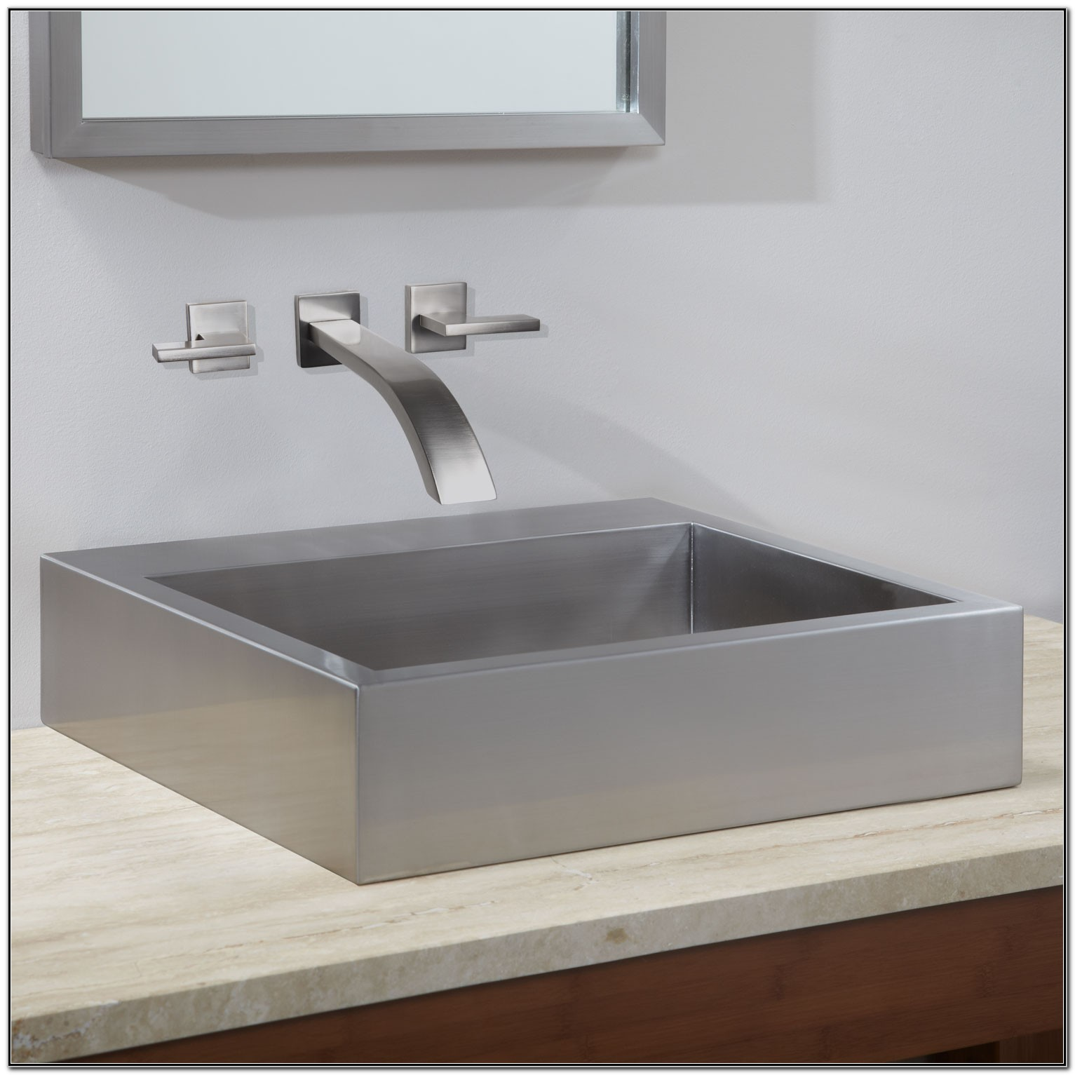 Square Stainless Steel Bathroom Sink