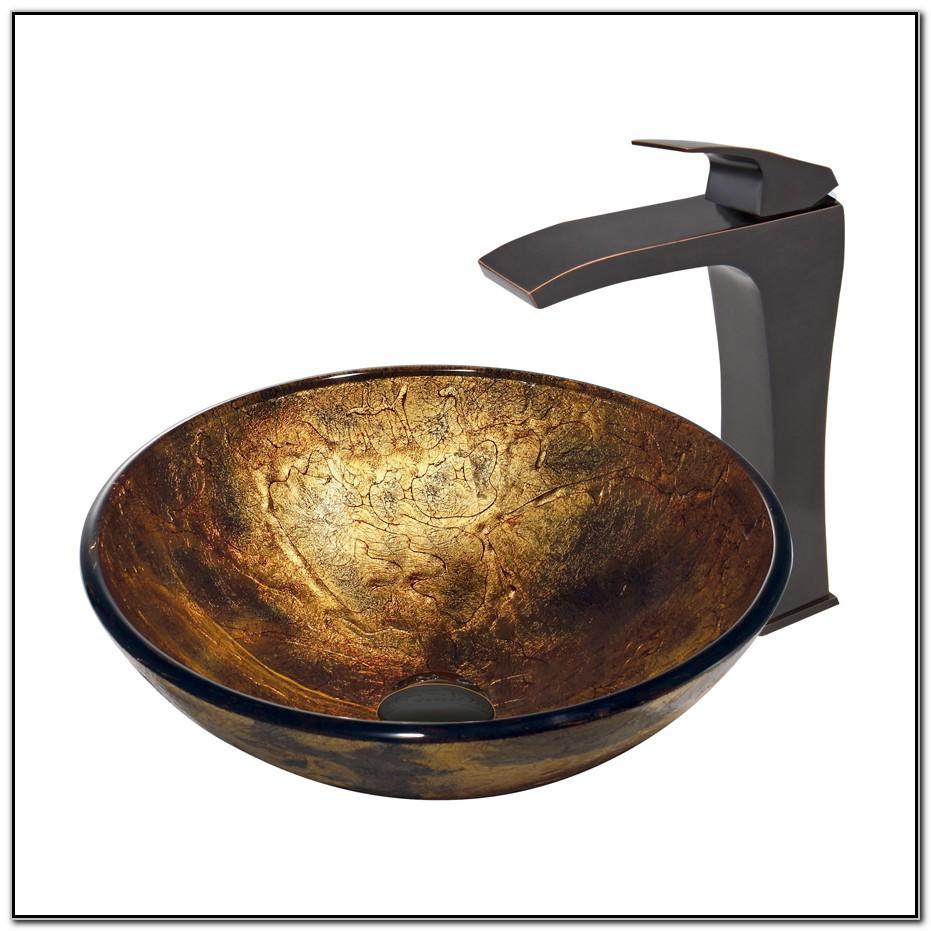 Vigo Copper Shapes Glass Vessel Bathroom Sink