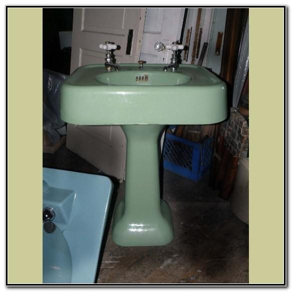 Vintage Cast Iron Pedestal Sink