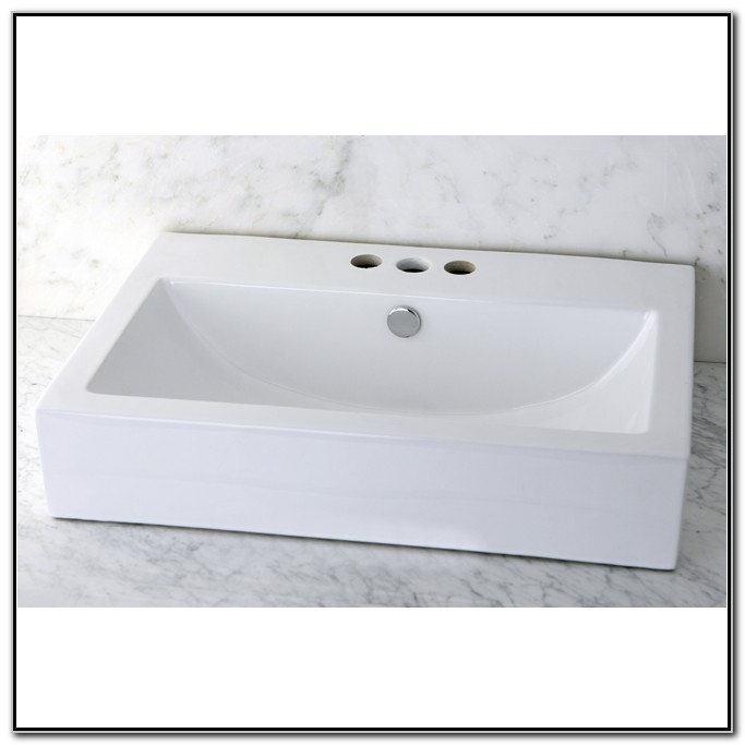 Vitreous China White Rectangular Vessel Bathroom Sink
