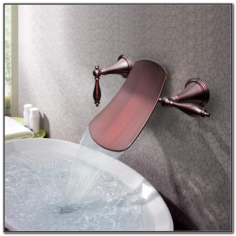 Wall Mounted Waterfall Bathroom Sink Faucets