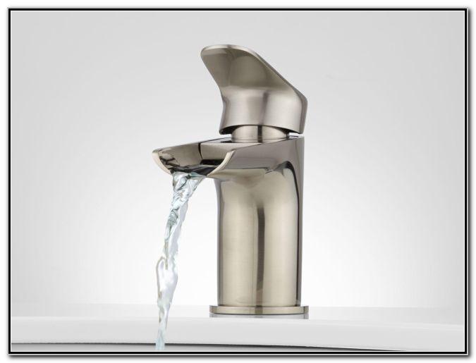Waterfall Bathroom Sink Faucet Brushed Nickel
