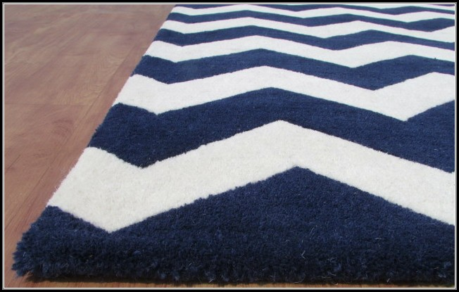 White And Navy Area Rug