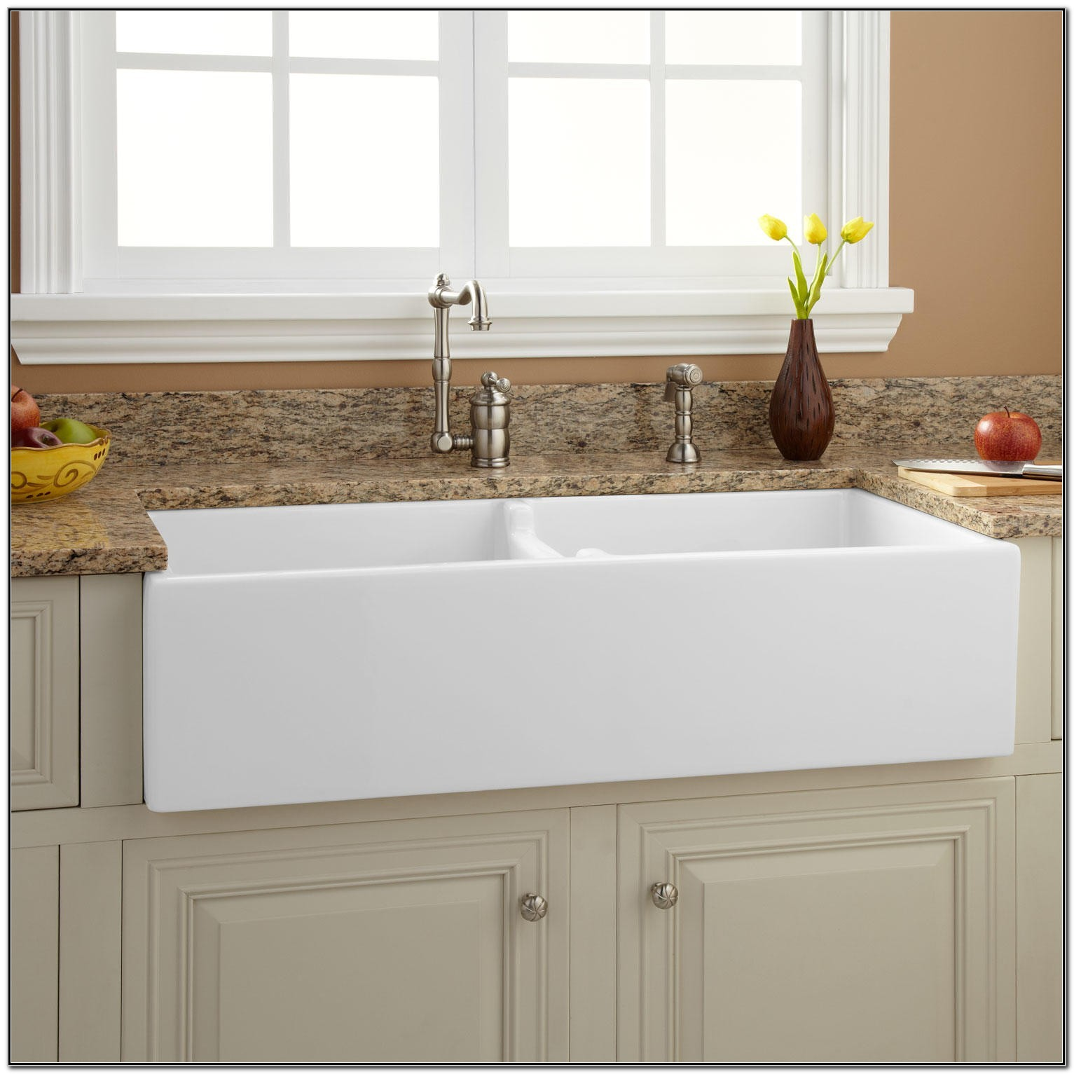 White Apron Front Kitchen Sink Double Bowl