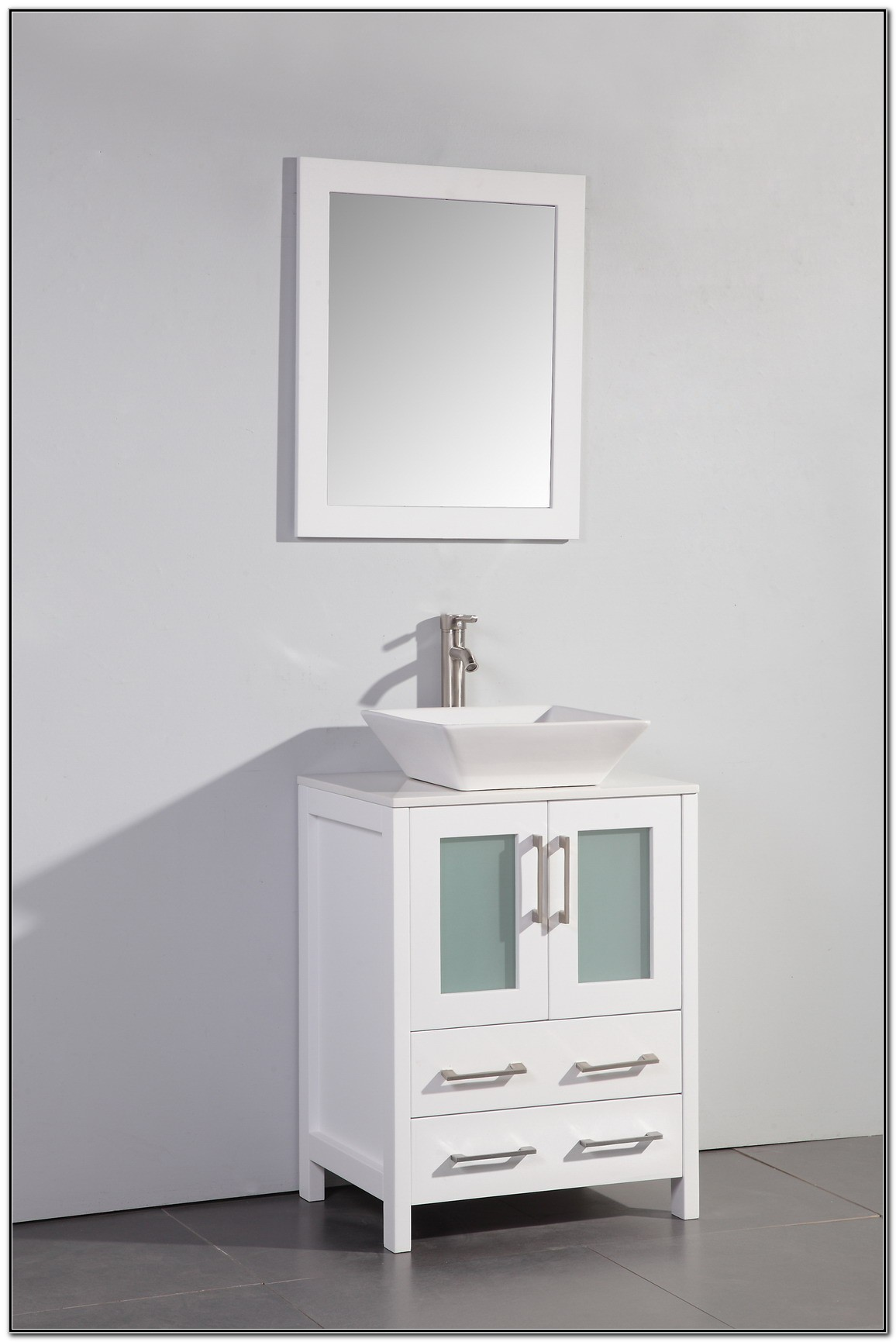White Bathroom Vanity With Vessel Sink