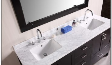 White Double Sink Bathroom Vanity Top
