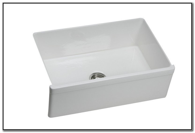 White Farmhouse Sink With Faucet Holes