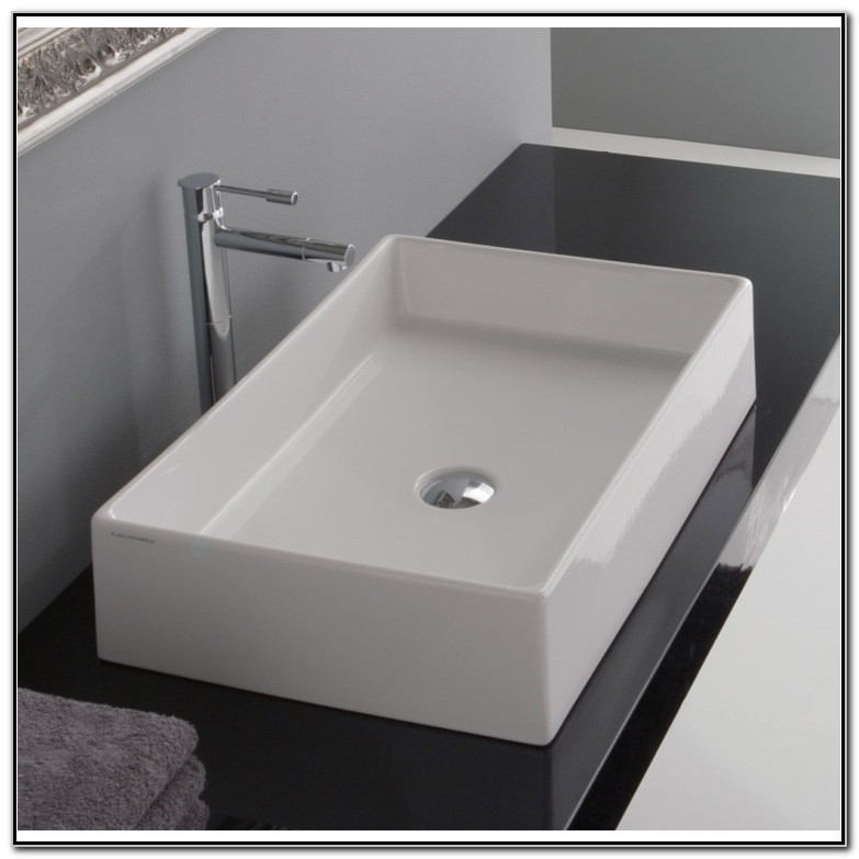 White Rectangular Vessel Sink