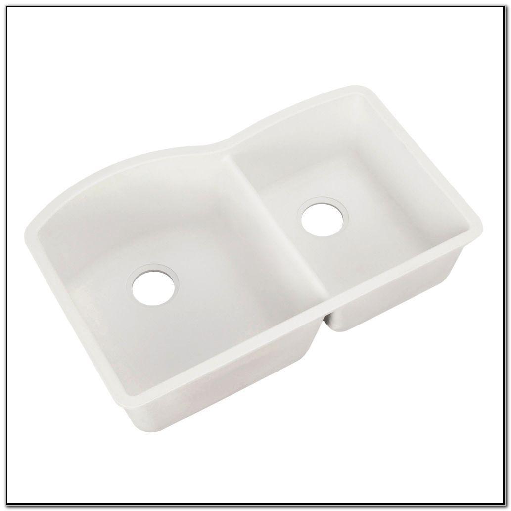 White Undermount Double Bowl Kitchen Sink