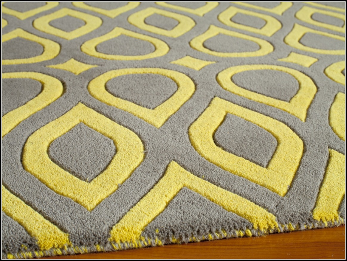 Yellow And Grey Geometric Rug