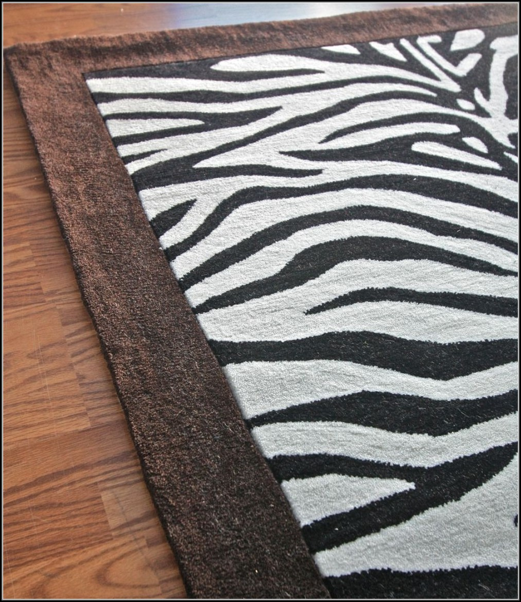 Zebra Print Rug Brown