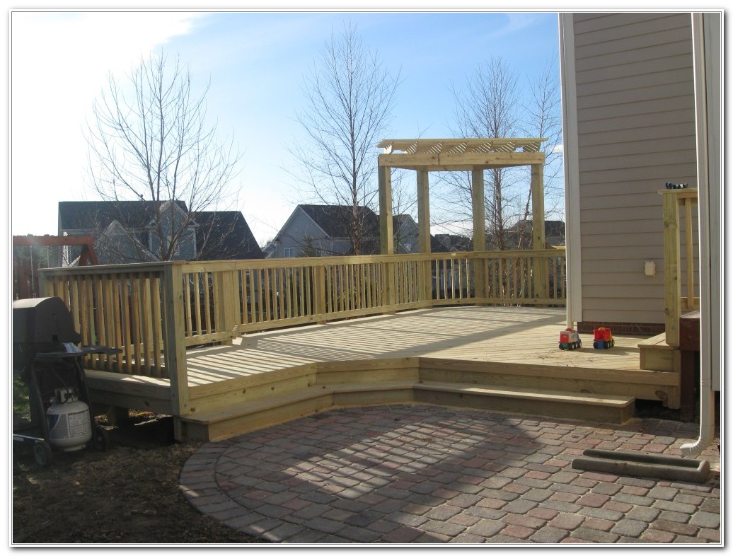 Deck And Stone Patio Combination