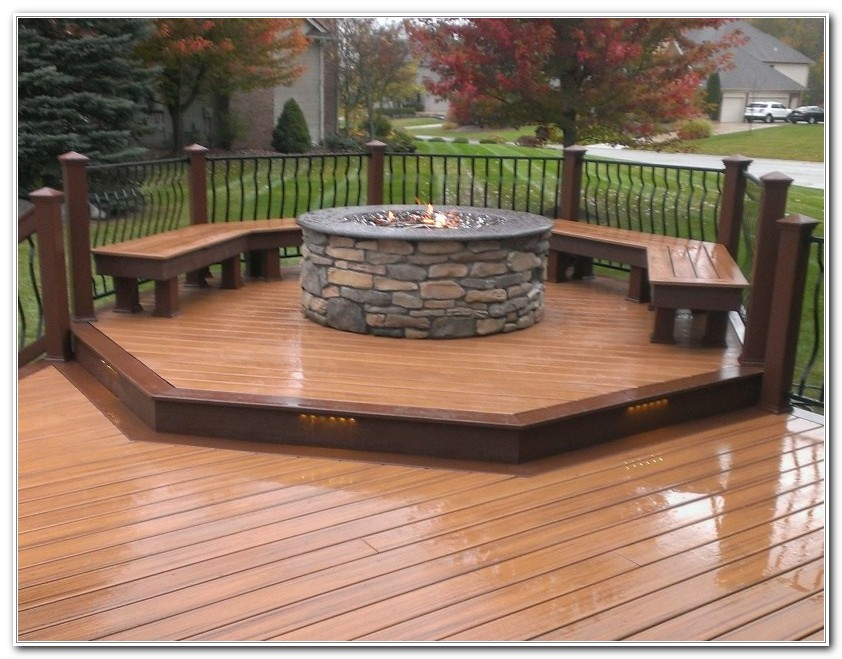 Fire Pit Built In Wood Deck
