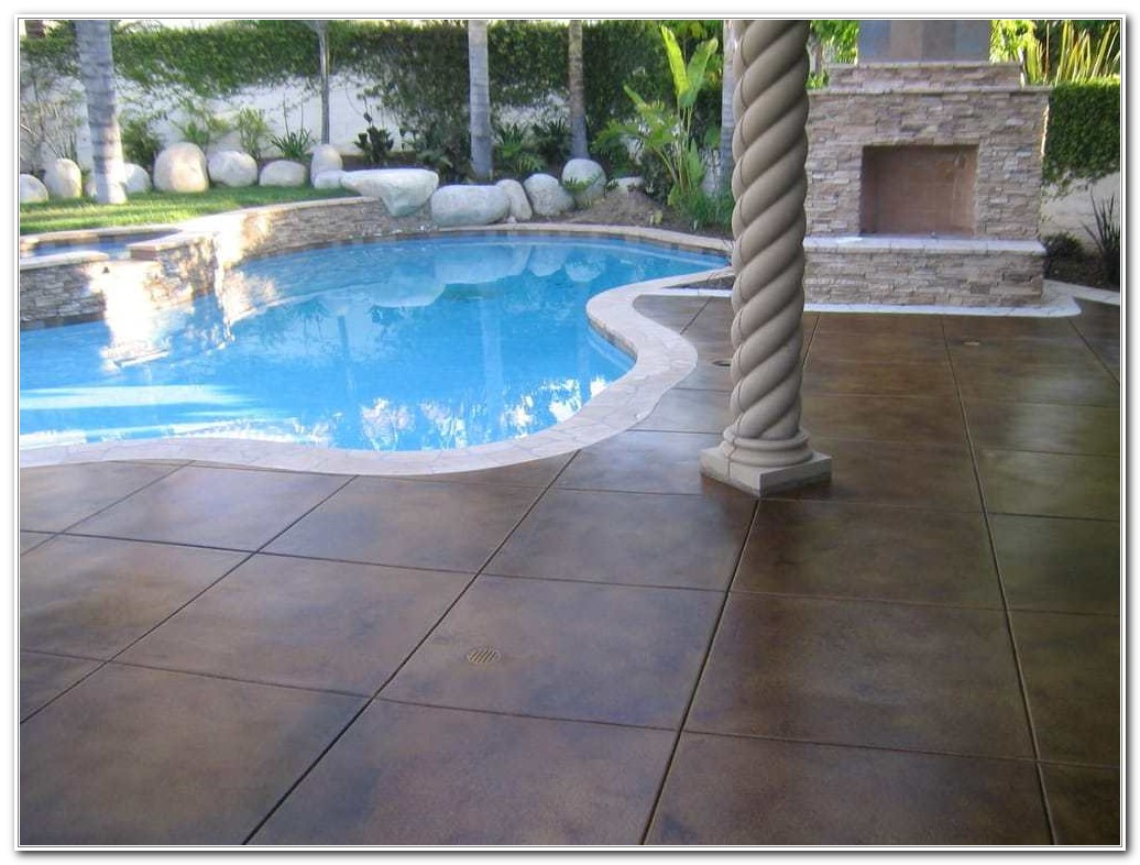 Pool Deck Concrete Stain