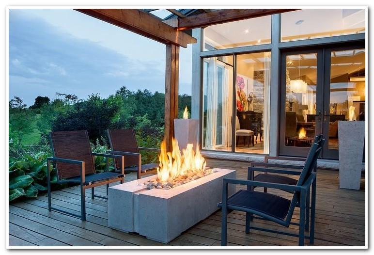 Propane Fire Pit On Wooden Deck