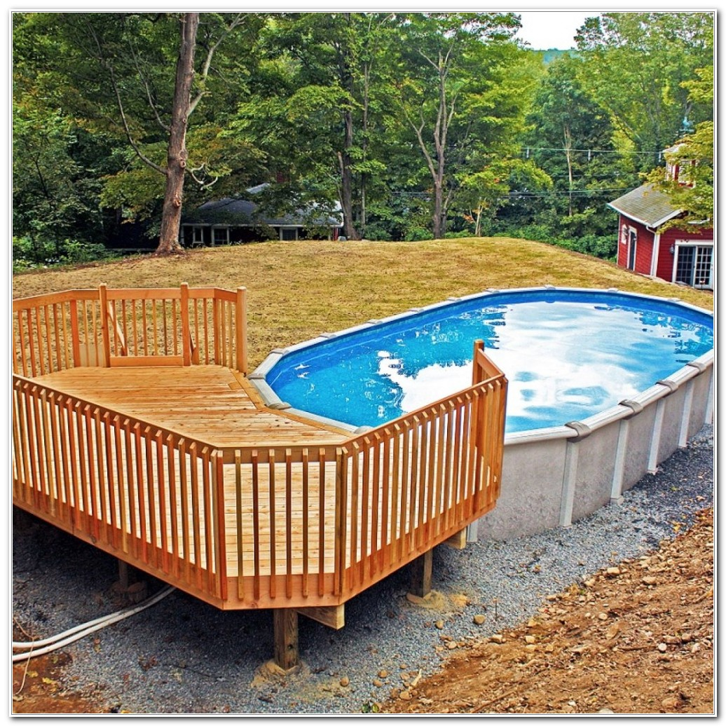 Round Above Ground Pool Decks