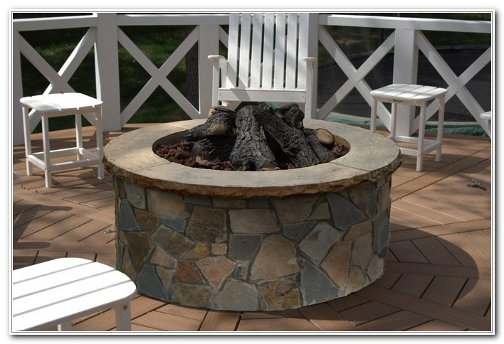 Stone Fire Pit On Wooden Deck