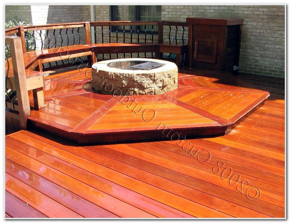 Wood Deck Built In Fire Pit