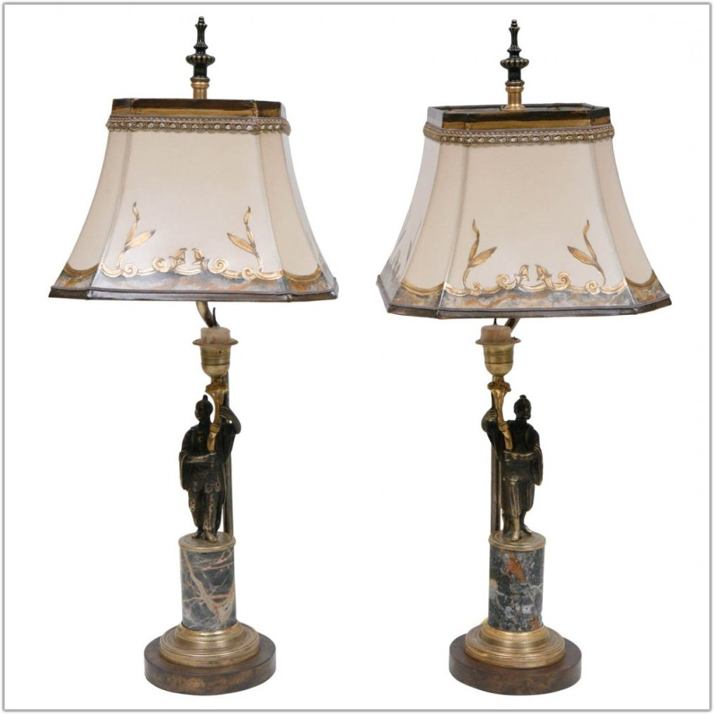 Antique Brass Lamp With Marble Base