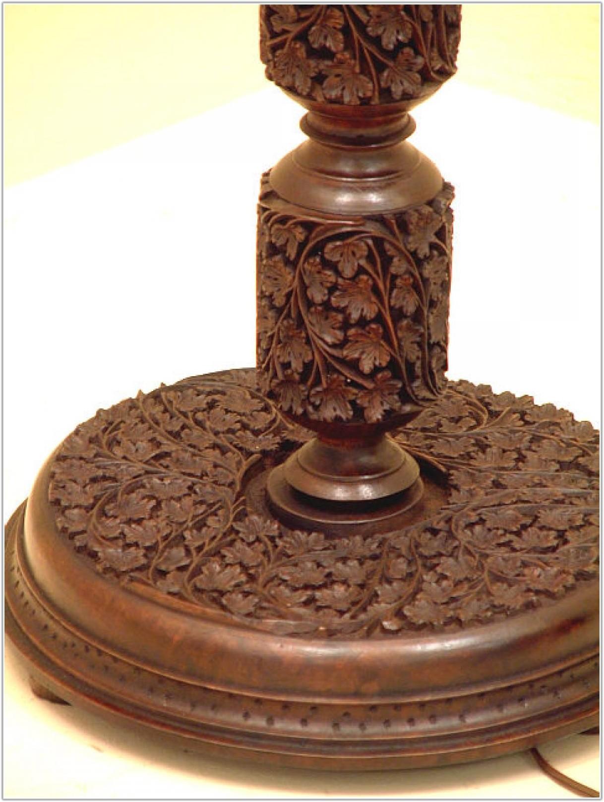 Antique Carved Wood Floor Lamp