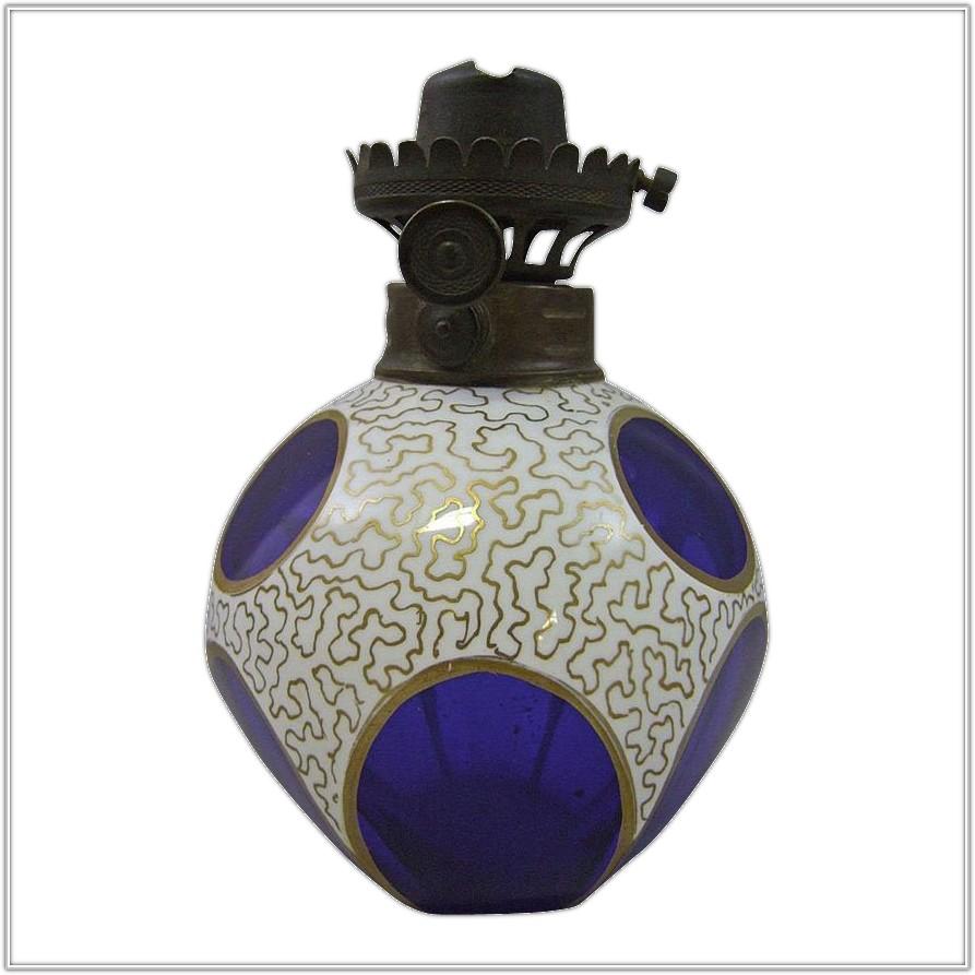 Antique Cobalt Blue Glass Lamp