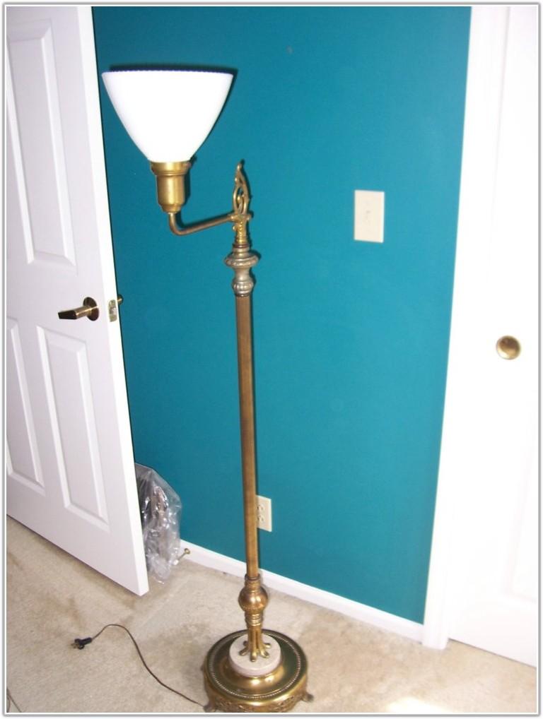 Antique Marble Base Floor Lamp