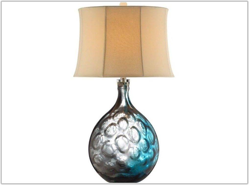Aqua Blue Glass Table Lamps