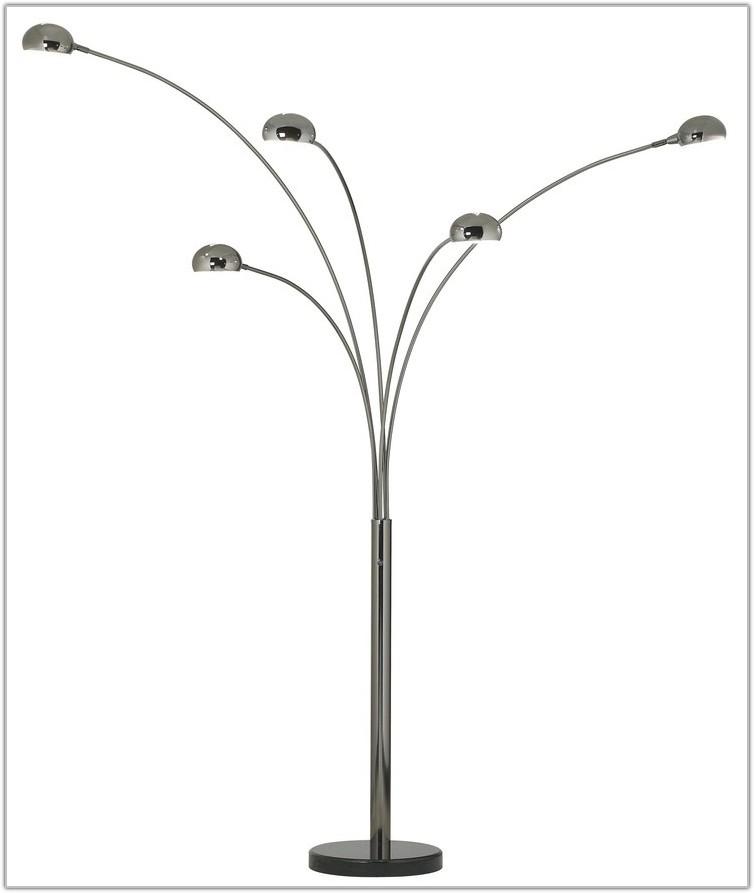 Black Chrome Five Arm Arc Floor Lamp