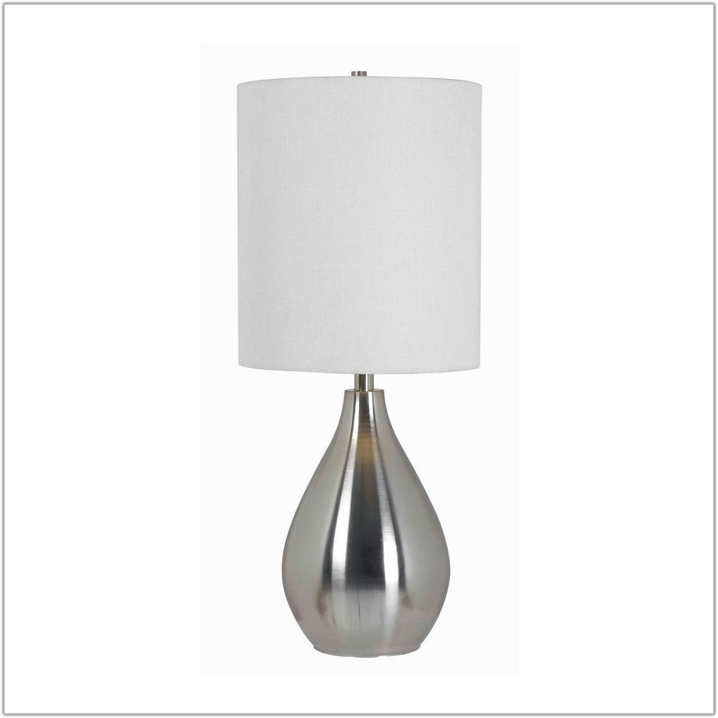 Brushed Steel Table Lamp With White Shade