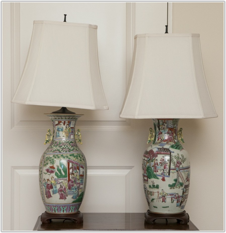 Chinese Hand Painted Table Lamps