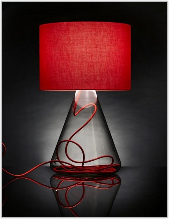 Colored Glass Base Table Lamps