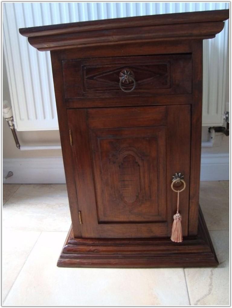 Dark Wood Tall Lamp Table