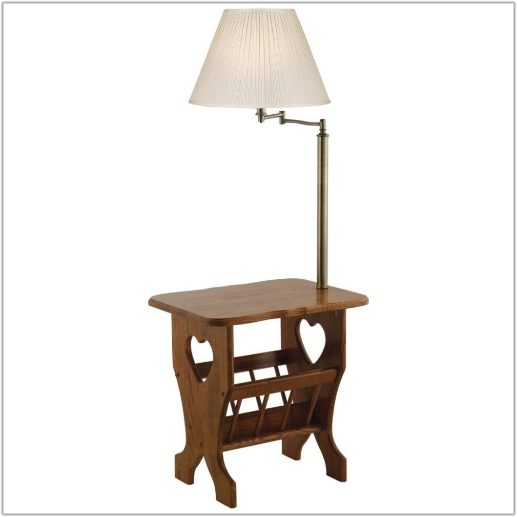 End Table With Attached Lamp