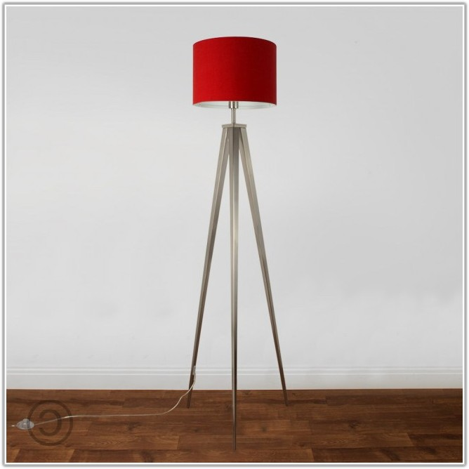 Floor Lamp With Red Shade