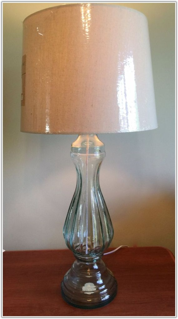 Large Blue Glass Table Lamp