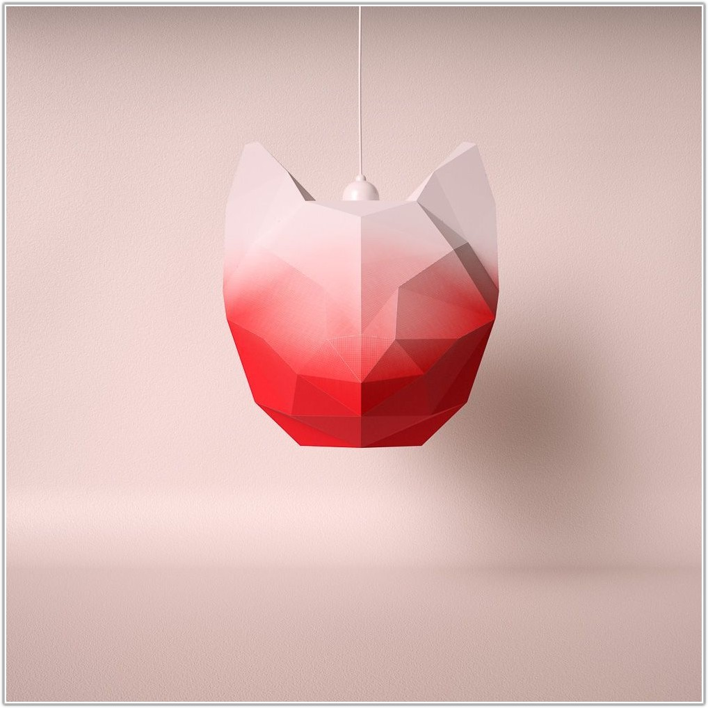 Large Red Paper Lamp Shade