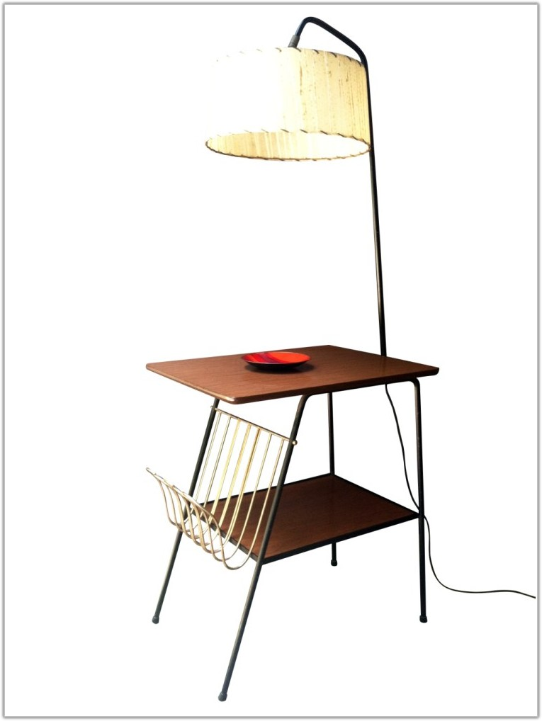 Mission End Table With Built In Lamp