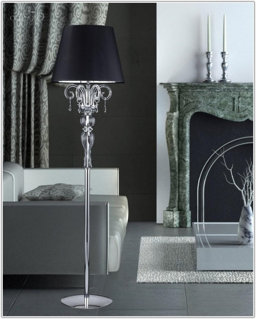 Modern Crystal Chandelier Floor Lamp Black
