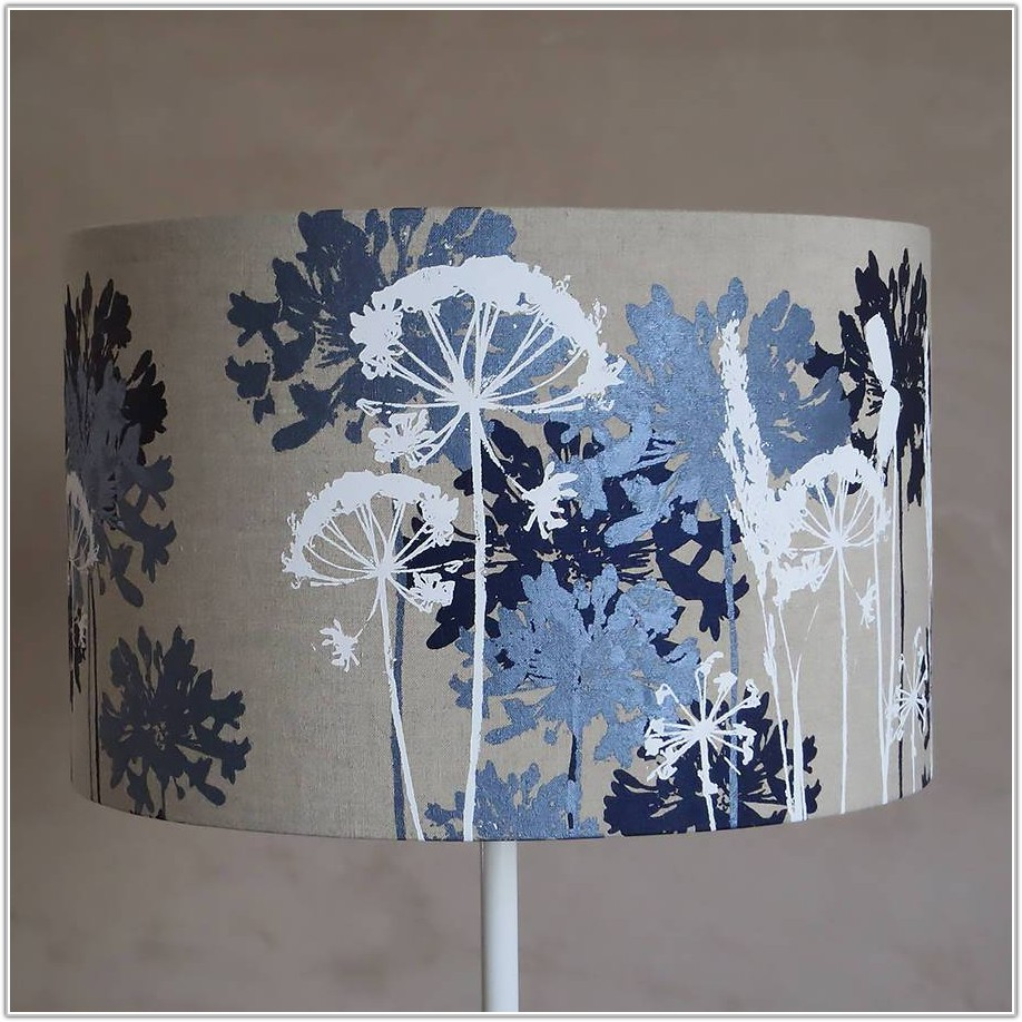Navy Blue And White Lampshade