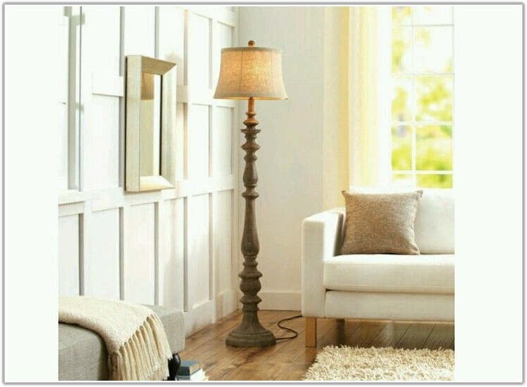 Rustic Distressed Carved Wood Floor Lamp