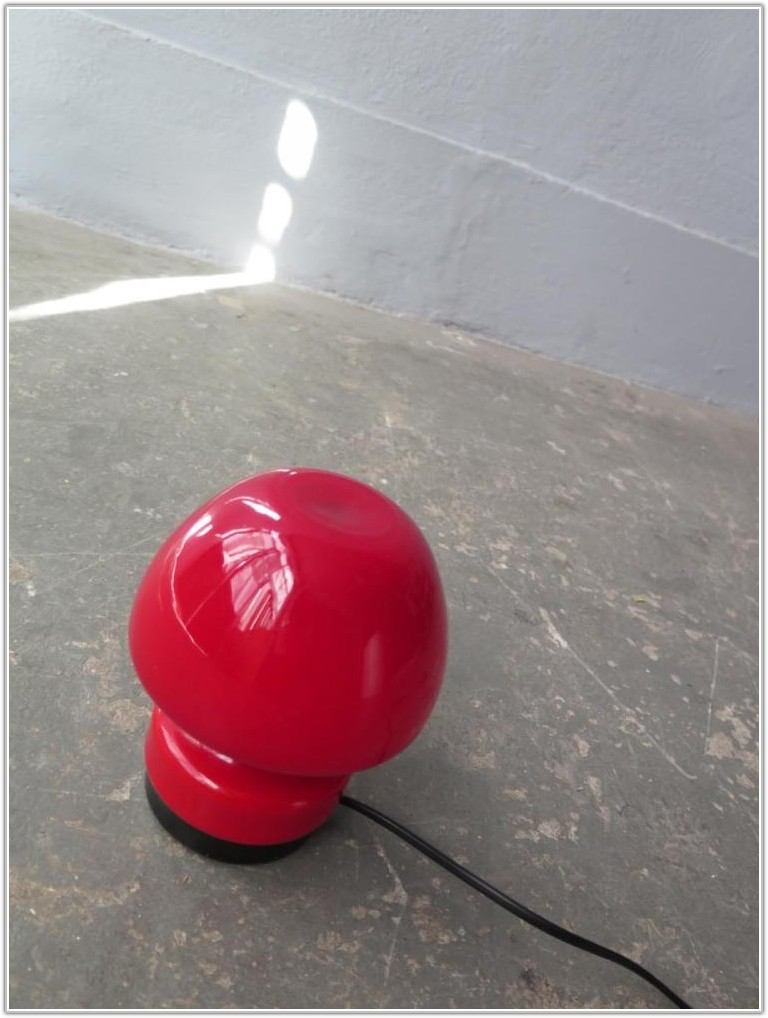 Small Red Glass Table Lamp