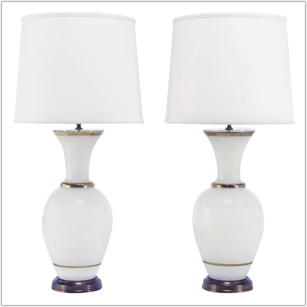 White Milk Glass Table Lamps