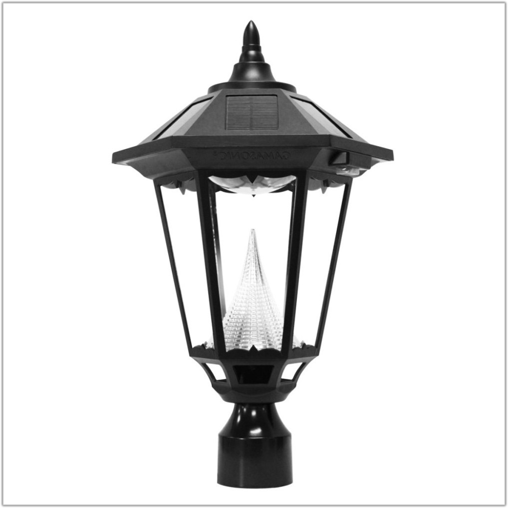 White Outdoor Solar Lamp Post
