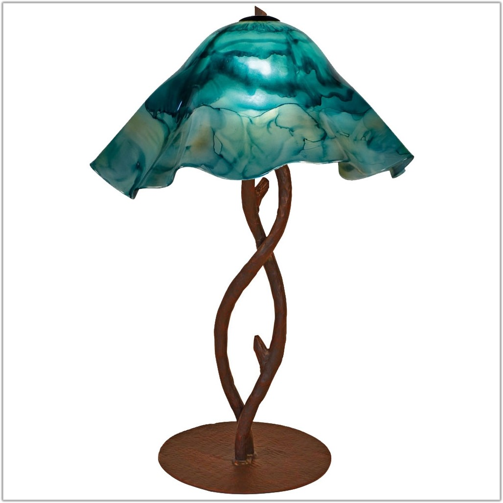 Wrought Iron Table Lamp With Glass Shade