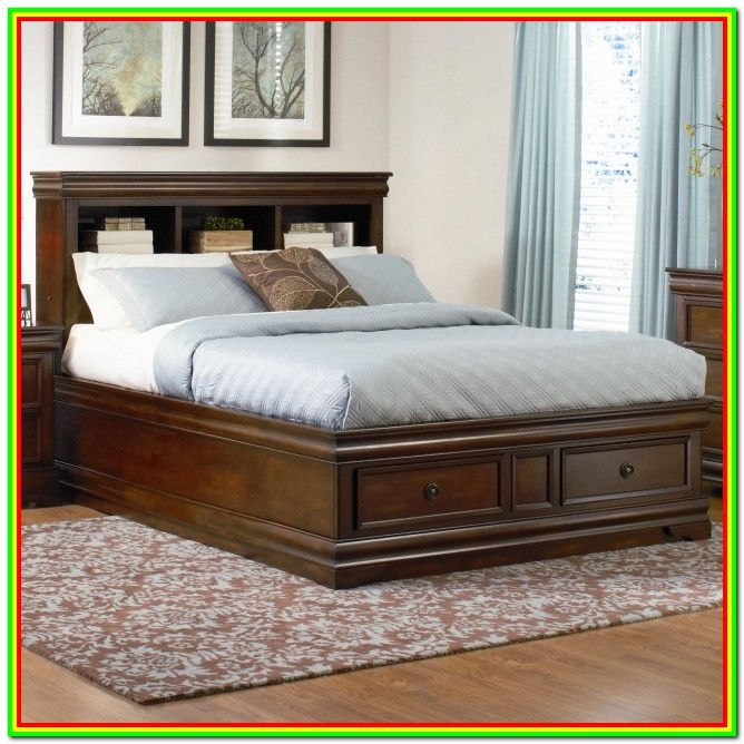 California King Bed Frame With Bookcase Headboard
