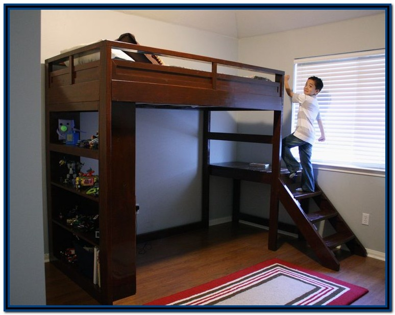 Diy Loft Bed With Desk And Stairs