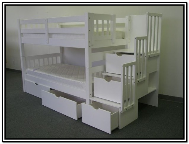 Double Bunk Beds With Stairs Plans