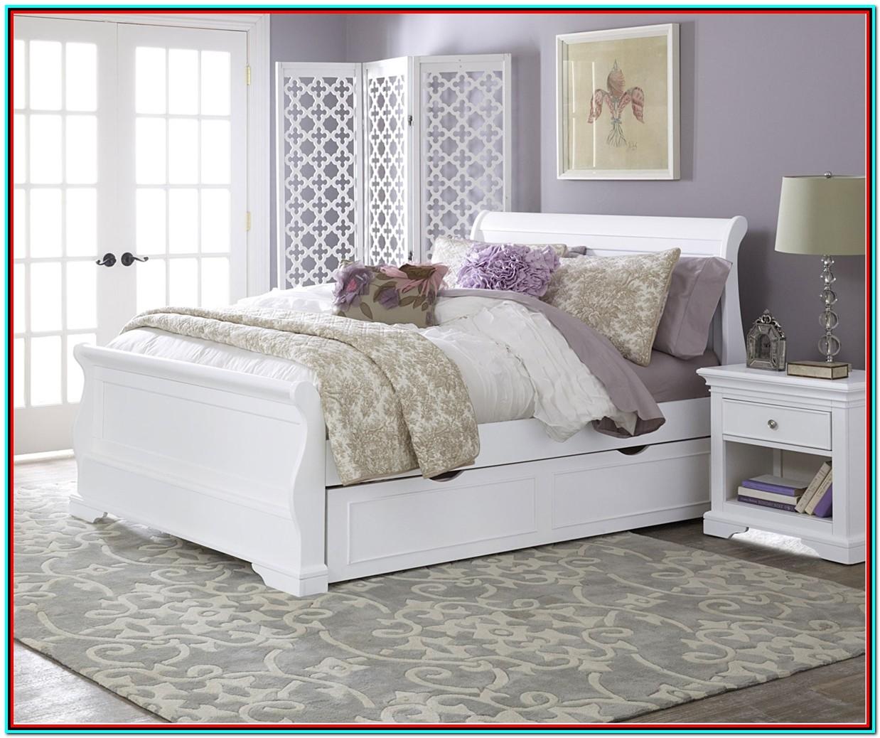 Full Size Bed Trundle White Finish